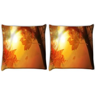 Snoogg Pack Of 2 Orange Autumn Digitally Printed Cushion Cover Pillow 10 x 10 Inch