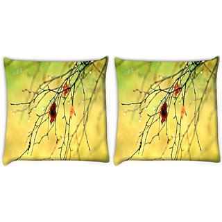 Snoogg Pack Of 2 Dying Branch Of Tree Digitally Printed Cushion Cover Pillow 10 x 10 Inch