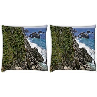 Snoogg Pack Of 2 Grass On Rocks Digitally Printed Cushion Cover Pillow 10 x 10 Inch