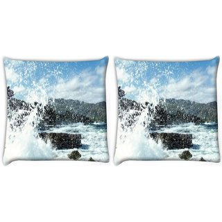 Snoogg Pack Of 2 Water Waves Hitting The Shore Digitally Printed Cushion Cover Pillow 10 x 10 Inch