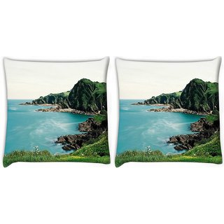 Snoogg Pack Of 2 Beach Side View Digitally Printed Cushion Cover Pillow 10 x 10 Inch