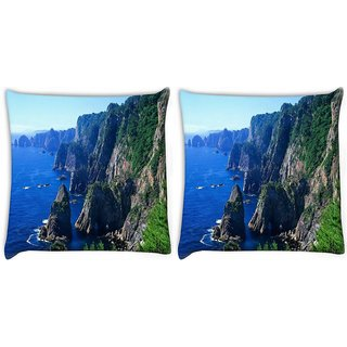 Snoogg Pack Of 2 Malayaisa Mountains Digitally Printed Cushion Cover Pillow 10 x 10 Inch