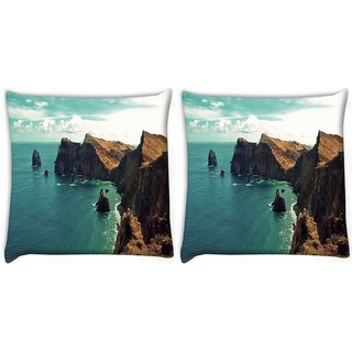 Snoogg Pack Of 2 Green Water Near Mountain Digitally Printed Cushion Cover Pillow 10 x 10 Inch