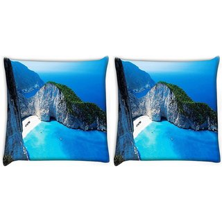 Snoogg Pack Of 2 White And Green Mountain Digitally Printed Cushion Cover Pillow 10 x 10 Inch