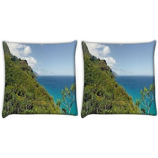 Snoogg Pack Of 2 Forest On Mountains Digitally Printed Cushion Cover Pillow 10 x 10 Inch