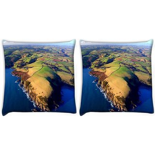 Snoogg Pack Of 2 Island Around The Ocean Digitally Printed Cushion Cover Pillow 10 x 10 Inch