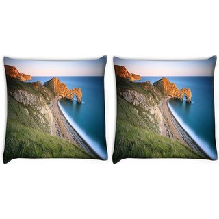 Snoogg Pack Of 2 Mountain And Large Opcean Digitally Printed Cushion Cover Pillow 10 x 10 Inch