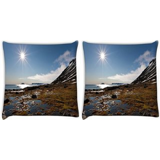 Snoogg Pack Of 2 Sunrise In The Sea Digitally Printed Cushion Cover Pillow 10 x 10 Inch
