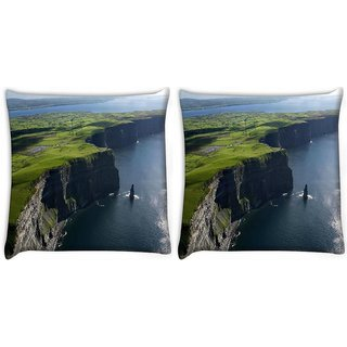 Snoogg Pack Of 2 Green Mountain And Ocean Digitally Printed Cushion Cover Pillow 10 x 10 Inch