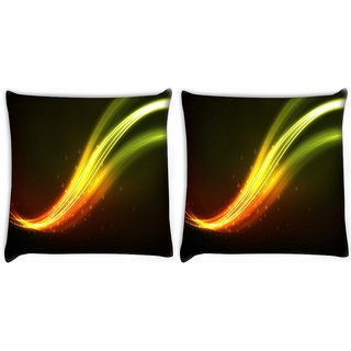 Snoogg Pack Of 2 Green Waves Design Digitally Printed Cushion Cover Pillow 10 x 10 Inch