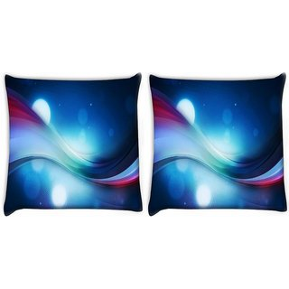 Snoogg Pack Of 2 Bubbles And Strips Digitally Printed Cushion Cover Pillow 10 x 10 Inch