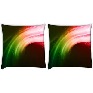Snoogg Pack Of 2 Multicolor Strips Digitally Printed Cushion Cover Pillow 10 x 10 Inch