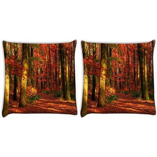 Snoogg Pack Of 2 Red Leaves Digitally Printed Cushion Cover Pillow 10 x 10 Inch