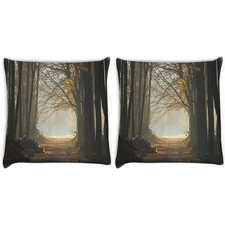 Snoogg Pack Of 2 Cutting The Forest Digitally Printed Cushion Cover Pillow 10 x 10 Inch