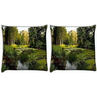 Snoogg Pack Of 2 Lake In Forest Digitally Printed Cushion Cover Pillow 10 x 10 Inch