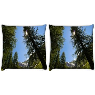 Snoogg Pack Of 2 Tall Christmas Tree Digitally Printed Cushion Cover Pillow 10 x 10 Inch