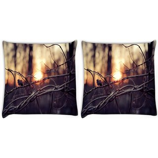 Snoogg Pack Of 2 Dried Branch Digitally Printed Cushion Cover Pillow 10 x 10 Inch