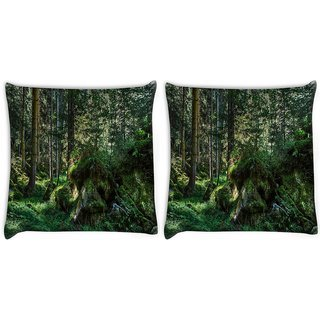 Snoogg Pack Of 2 Green Rocks Digitally Printed Cushion Cover Pillow 10 x 10 Inch