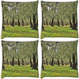 Snoogg Pack Of 4 Light Color Leaves Digitally Printed Cushion Cover Pillow 10 x 10 Inch