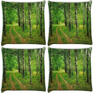 Snoogg Pack Of 4 Abstract White Trees Digitally Printed Cushion Cover Pillow 10 x 10 Inch