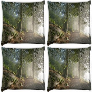 Snoogg Pack Of 4 White Forest Digitally Printed Cushion Cover Pillow 10 x 10 Inch