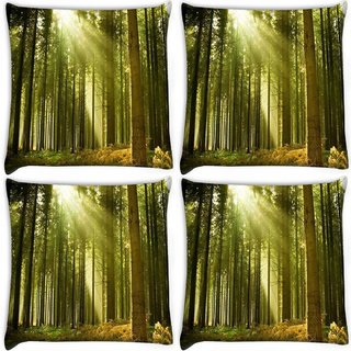 Snoogg Pack Of 4 Abstract Green Forest Digitally Printed Cushion Cover Pillow 10 x 10 Inch