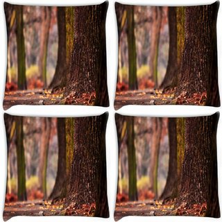 Snoogg Pack Of 4 Abstract Huge Tree Digitally Printed Cushion Cover Pillow 10 x 10 Inch