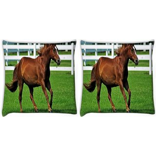 Snoogg Pack Of 2 Brown Horse Running Digitally Printed Cushion Cover Pillow 10 x 10 Inch