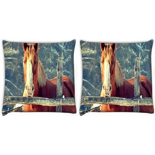 Snoogg Pack Of 2 Abstract Horse Digitally Printed Cushion Cover Pillow 10 x 10 Inch