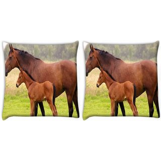 Snoogg Pack Of 2 Baby Horse Digitally Printed Cushion Cover Pillow 10 x 10 Inch