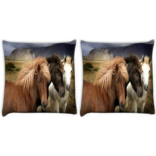 Snoogg Pack Of 2 Colorful Horses Digitally Printed Cushion Cover Pillow 10 x 10 Inch