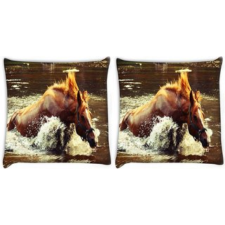 Snoogg Pack Of 2 Horse In Water Digitally Printed Cushion Cover Pillow 10 x 10 Inch