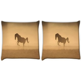 Snoogg Pack Of 2 Horse In Dust Digitally Printed Cushion Cover Pillow 10 x 10 Inch