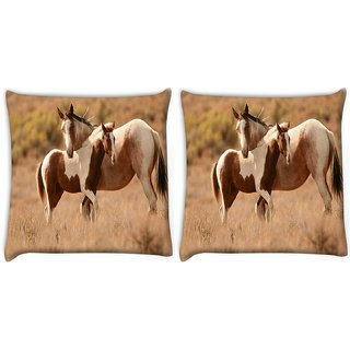Snoogg Pack Of 2 Colorful Abstract Horse Digitally Printed Cushion Cover Pillow 10 x 10 Inch