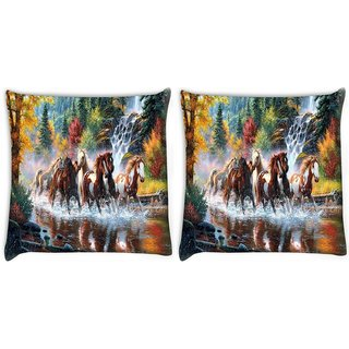 Snoogg Pack Of 2 Abstract Art Of Horse Digitally Printed Cushion Cover Pillow 10 x 10 Inch