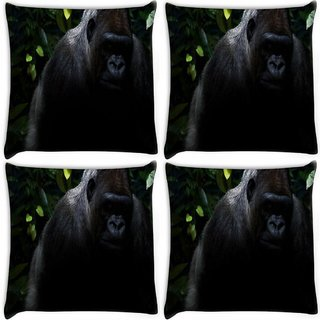 Snoogg Pack Of 4 Angry Gorilla Digitally Printed Cushion Cover Pillow 10 x 10 Inch