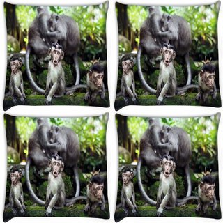 Snoogg Pack Of 4 Monkey Babies Digitally Printed Cushion Cover Pillow 10 x 10 Inch