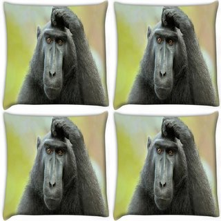 Snoogg Pack Of 4 Black Ape Digitally Printed Cushion Cover Pillow 10 x 10 Inch
