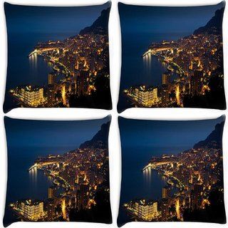 Snoogg Pack Of 4 Night View Of City Digitally Printed Cushion Cover Pillow 10 x 10 Inch