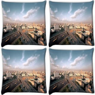 Snoogg Pack Of 4 Lake And City Digitally Printed Cushion Cover Pillow 10 x 10 Inch