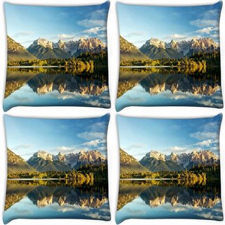 Snoogg Pack Of 4 Lake Side Mountain Digitally Printed Cushion Cover Pillow 10 x 10 Inch