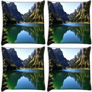 Snoogg Pack Of 4 Green River Digitally Printed Cushion Cover Pillow 10 x 10 Inch