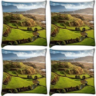Snoogg Pack Of 4 Green Garden With Flowers Digitally Printed Cushion Cover Pillow 10 x 10 Inch