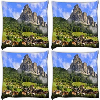 Snoogg Pack Of 4 Huge Rocks Digitally Printed Cushion Cover Pillow 10 x 10 Inch
