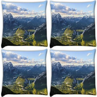 Snoogg Pack Of 4 White Mountains Digitally Printed Cushion Cover Pillow 10 x 10 Inch