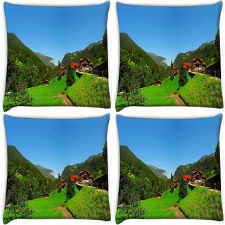 Snoogg Pack Of 4 Red Houses Digitally Printed Cushion Cover Pillow 10 x 10 Inch