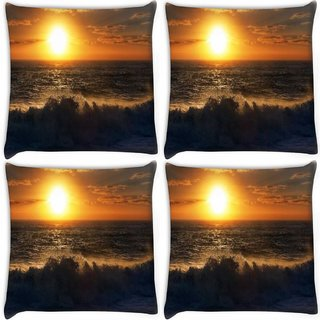 Snoogg Pack Of 4 Sunset On Beach Digitally Printed Cushion Cover Pillow 10 x 10 Inch