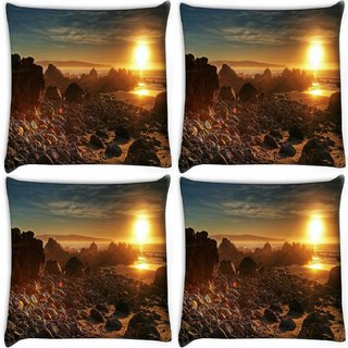 Snoogg Pack Of 4 White Stones Digitally Printed Cushion Cover Pillow 10 x 10 Inch