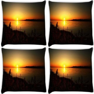 Snoogg Pack Of 4 Sun Rising Digitally Printed Cushion Cover Pillow 10 x 10 Inch