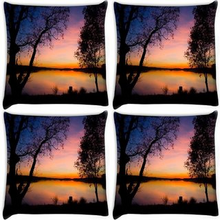 Snoogg Pack Of 4 Trees At Night Digitally Printed Cushion Cover Pillow 10 x 10 Inch